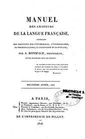 Manuel des amateurs de la langue française: contenant des solutions sur l'étymologie, l'orthographe, la prononciation, la synonymie et la syntaxe