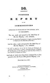 Report of the Commissioners Appointed ... to Inquire Concerning Charities in England [and Wales] for the Education of the Poor ...: Volume 16