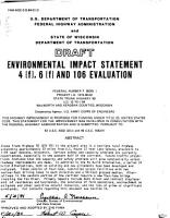 Draft Environmental Impact Statement 4  f   6  f  and 106 Evaluation     State Trunk Highway 50  U S  12 to I 94  Walworth and Kenosha Counties  Wisconsin PDF