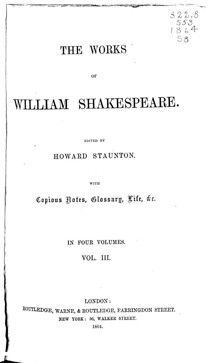 The Works of William Shakespeare: Timon of Athens. King Richard the Third. Measure for measure. King Henry the Eighth. Cymbeline. The tempest. King Lear. Coriolanus. The winter's tale