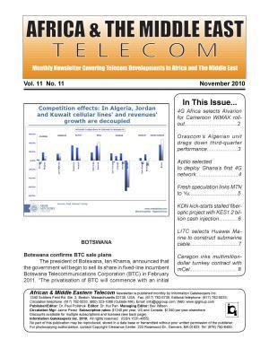 Africa   Mideast Telecom Monthly Newsletter November 2010 PDF