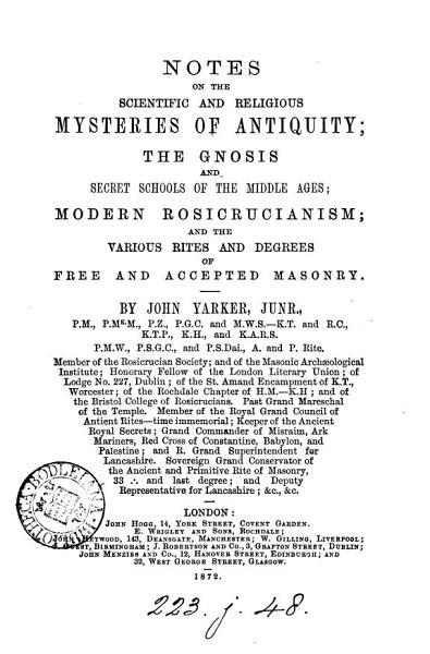 Notes on the scientific and religious mysteries of antiquity   c    PDF