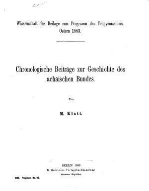 Chronologische Beitr  ge zur Geschichte des ach  ischen Bundes PDF