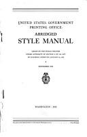 Abridged Style Manual PDF