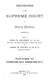 Decisions of the Supreme Court of Nova Scotia: Volume 2