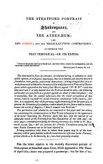 The Stratford Portrait of Shakespeare, and the Athenaeum; Also Ben Jonson; and the Macaulay-Penn Controversy, in Connexion with that Periodical - Or Its Editor [W. H. Dixon].