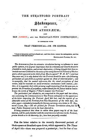 The Stratford Portrait of Shakespeare  and the Athenaeum  Also Ben Jonson  and the Macaulay Penn Controversy  in Connexion with that Periodical   Or Its Editor  W  H  Dixon   PDF