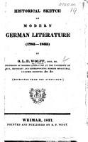 Historical Sketch of Modern German Literature  1785 1835   PDF