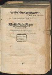 Marsilii Ficini Florentini. De religio[n]e christiana & fidei pietate opusculum: Xenocrates de morte eodem interprete