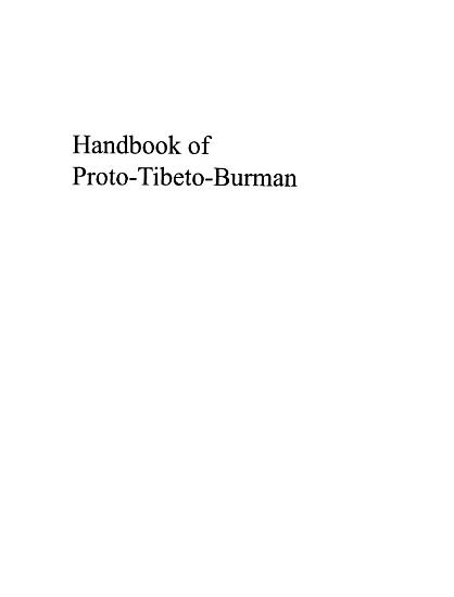 Handbook of Proto Tibeto Burman PDF