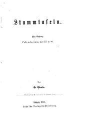 Stammtafeln: mit Anhang, Calendarium medii aevi