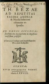 Ad repetitas Jacobi Andreae et Nic. Selnecceri calumnias responsio