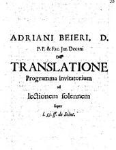 De translatione programma invitatorium ad lectionem solennem super l. 53. ff. de solut