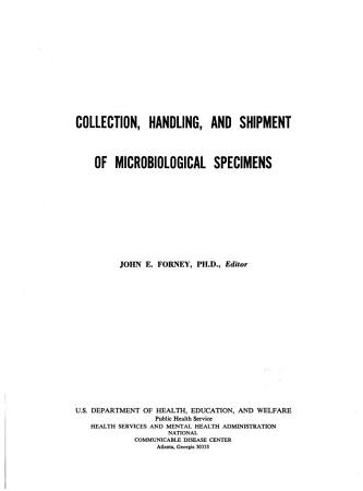 Collection  Handling  and Shipment of Microbiological Specimens PDF