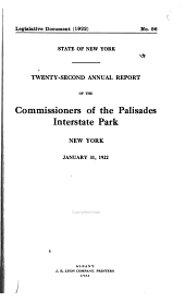 Annual Report of the Commissioners of the Palisades Interstate Park