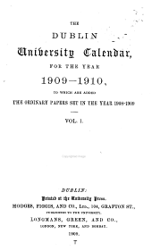 The Dublin University Calendar: Volume 1