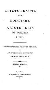 Aristotelis De poetica liber: Græce et latine ...