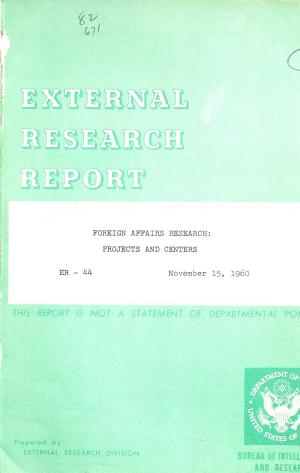 Foreign Affairs Research  Projects and Centers PDF
