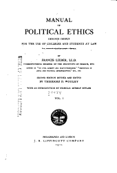 Manual of Political Ethics: Designed Chiefly for the Use of Colleges and Students at Law