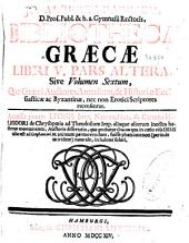 Jo. Alberti Fabricii ... Bibliotheca Graecae libri V. Pars altera sive volumen sextum ...
