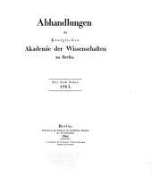 Abhandlungen der Königlichen Akademie der Wissenschaften in Berlin