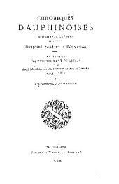 Chroniques dauphinoises et documents inédits relatifs à Dauphiné pendant la Révolution: Volume1