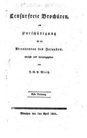 Zensurfreie Brochüren als Entschädigung für die Abonnenten des Inlandes: Band 1