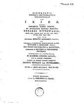 Dissertatio physico-mathematica inauguralis de Iride