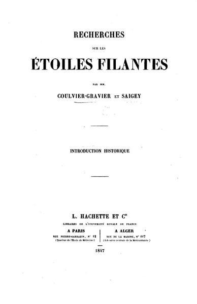 Download Recherches sur les   toiles filantes     Introduction historique Book