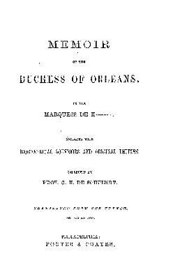 MEMOIR OF THE DUCHESS OF ORLEANS PDF