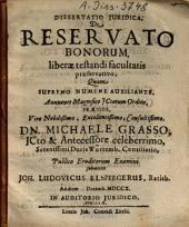Dissertatio Iuridica De Reservato Bonorum, liberae testandi facultatis praeservativo