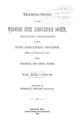 Transactions of the Wisconsin State Agricultural Society PDF