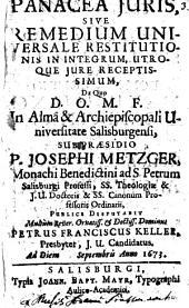 Panacea iuris, sive Remedium universale restitutionis in integrum