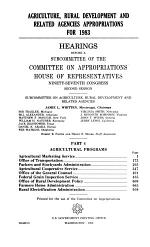 Agriculture, Rural Development, and Related Agencies Appropriations for 1983: Agricultural programs