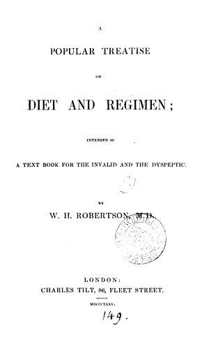 A popular treatise on diet and regimen