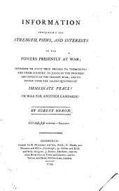 Information concerning the strength, views, and interests of the powers presently at war [based on J.G.M.R. de Montgaillard's État de la France au mois de mai 1794.].