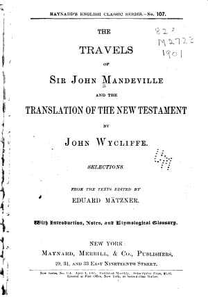 The Travels of Sir John Mandeville and the Translation of the New Testament