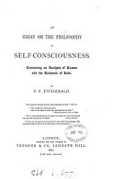 AN ESSAY ON THE PHILOSOPHY OF SELF CONSCIOUSNNESS PDF