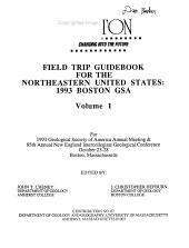 Field Trip Guidebook for the Northeastern United States  1993 Boston GSA PDF