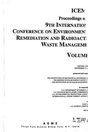 Proceedings of the     International Conference on Environmental Remediation and Radioactive Waste Management PDF