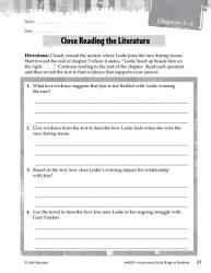 Bridge to Terabithia Close Reading and Text Dependent Questions PDF