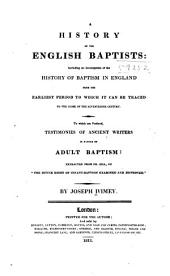 A History of the English Baptists: Volume 1