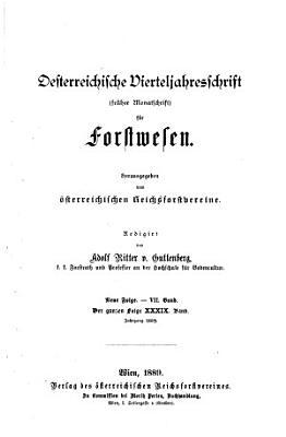 sterreichische Vierteljahresschrift F  r Forstwesen PDF