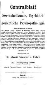 Zentralblatt für Nervenheilkunde und Psychiatrie: Band 11