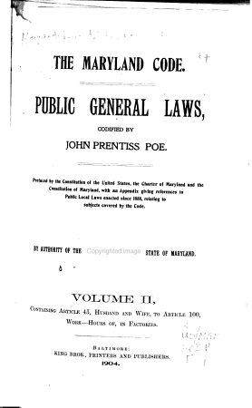 The Maryland Code  Public General Laws  Codified PDF