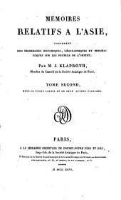 Mémoires relatifs à l'Asie: contenant des recherches historiques, géographiques et philologiques sur les peuples de l'Orient, Volume2