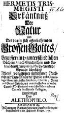 HERMETIS TRISMEGISTI Erk  ntn     Der Natur Und Des darin sich offenbahrenden Grossen Gottes PDF