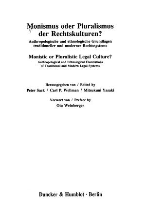 Monismus oder Pluralismus der Rechtskulturen  PDF