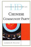 Historical Dictionary of the Chinese Communist Party PDF