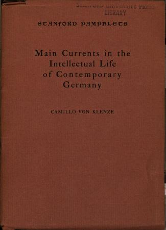 Main Currents in the Intellectual Life of Contemporary Germany PDF